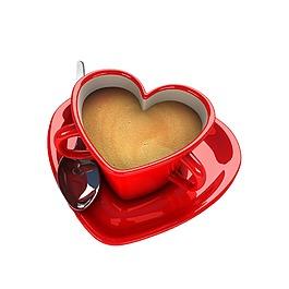 紅色心形杯子咖啡元素