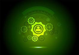 綠色齒輪科技背景圖片