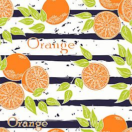 卡通橘子條紋背景圖片