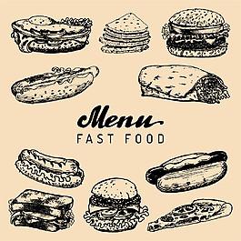 快餐美食素描圖片