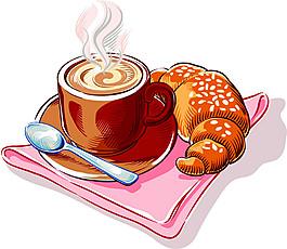 卡通面包咖啡圖片