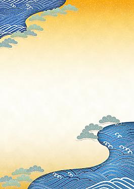 手繪大海波浪背景