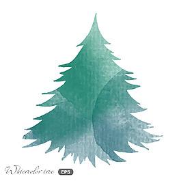藍色水彩繪松樹