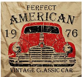 手绘复古汽车图标