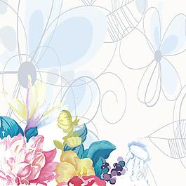 花朵水粉水彩花朵樹葉果子線條素材