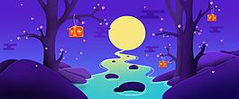 河流卡通风景插画