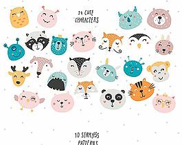 可愛手繪風格卡通動物矢量圖稿