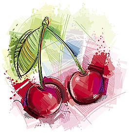 水彩繪櫻桃