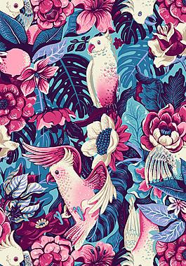 深色花叢小鳥布藝壁紙圖