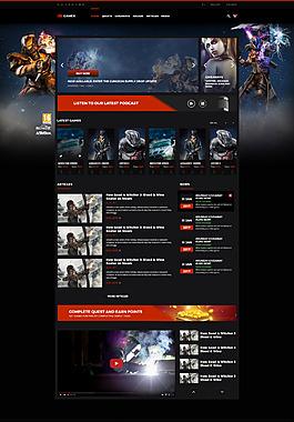 黑色簡約時尚酷炫游戲網頁UI游戲界面