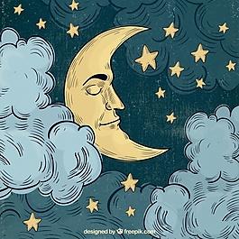 月亮睡的背景