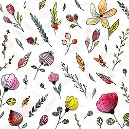 手繪水彩花卉背景