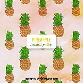 水彩背景與菠蘿