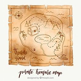 纸与水彩海盗藏宝图