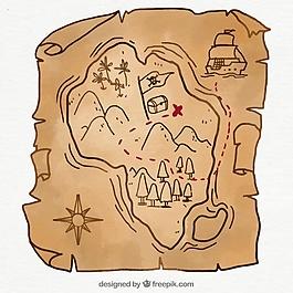 带有手绘风格的海盗地图