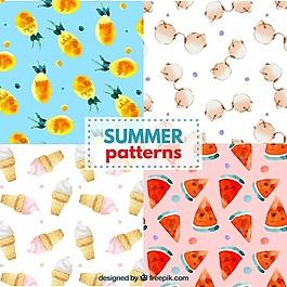 水彩畫的夏天模式