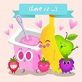 水果和酸奶背景