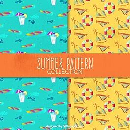 水彩圖案裝飾夏季圖案