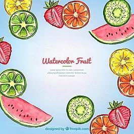 熱帶水彩水果背景
