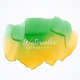 黄色和绿色水彩污渍背景