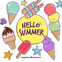 手繪冰淇淋背景