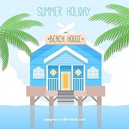 沙滩屋平面设计背景