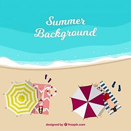 夏日背景,海邊有雨傘