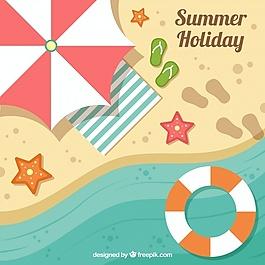 夏季背景海灘元素