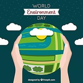 世界环境日背景与地球的地球和云彩