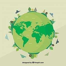 绿色地球背景下的世界环境日