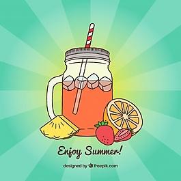 果汁玻璃的手繪背景