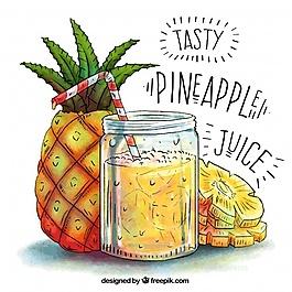 菠蘿汁手繪背景