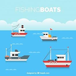 平坦的背景和四艘渔船