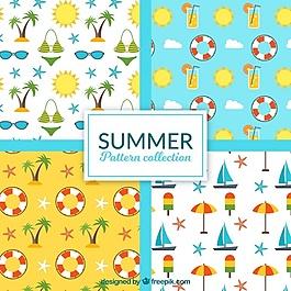 平坦物体的夏季图案