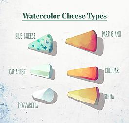 水彩绘三角奶酪矢量