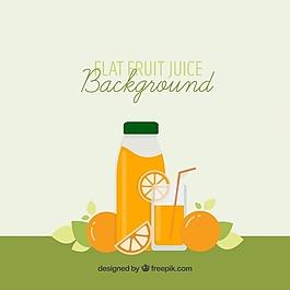 美味橙汁的平坦背景