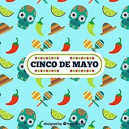 Cinco de Mayo的背景与头骨和辣椒
