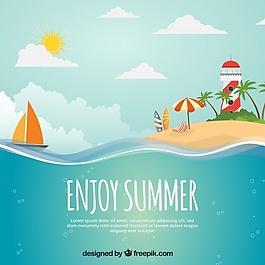 夏季背景与岛屿,船和灯塔