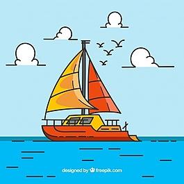 彩色背景船和鸟在平面设计
