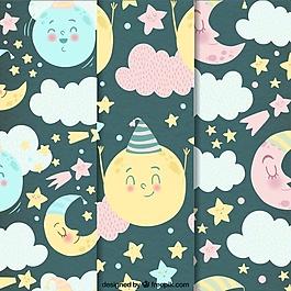 有星星和水彩云彩的美丽月亮图案