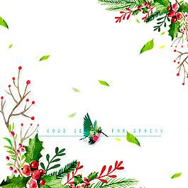 花苞樹枝綠葉紅色果實鳥飄落葉子的素材
