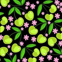 櫻桃和花朵背景