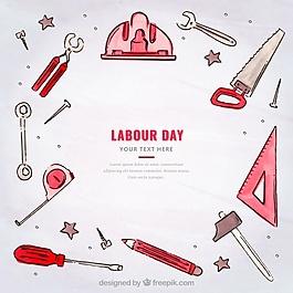 工作日背景與水彩配件和工具