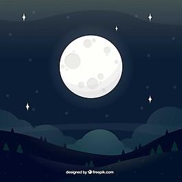 滿月景觀的背景