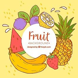 彩色水果手繪背景