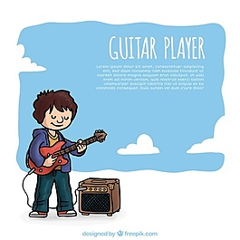 卡通吉他手背景
