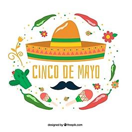 与Cinco de Mayo装饰墨西哥元素的大背景