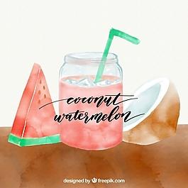 椰子汁和西瓜汁