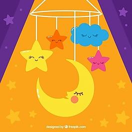 可爱的月亮和星星的装饰背景