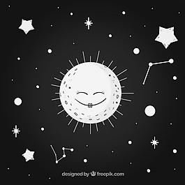 黑色背景,可爱的月亮和星星